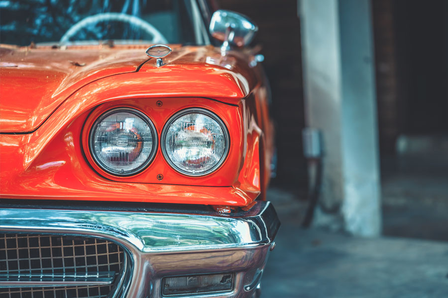 Classic Car Insurance - Classic Red Car in a Garage